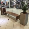 Stainless Steel and Wood Mall Bench