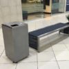 Mall Litter Bin with Contemporary Bench