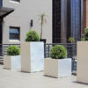 White Aluminium Cube planters